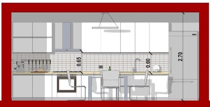 Schnitt eine Linear Küche mit der Software Edificius für den Architekturentwurf erstellt