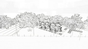 Rendering-Sketch-Effekt-Stadtmoeblierung-Projekt-3D-Architektur-BIM-Software