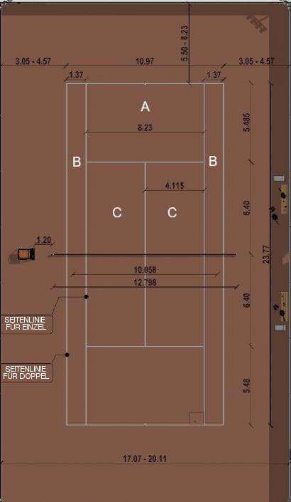 Wie man Sportanlagen entwirft-Tennisplatz-GRUNDRISS-BIM-Software-Architektur-Edificius