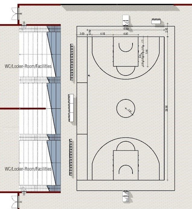 Grundriss-Basketballplatz-Sportplatzplanung Futsal- und Basketballplatz