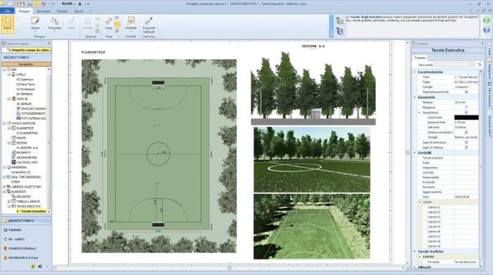 Sportplatzplanung Futsal- und Basketballplatz-Ausführungspläne-BIM-Software-Architektur-Edificius