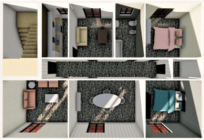 Projekt- für die Renovierung einer Wohnung-Rendering-Daraufansicht-VORHER-Architektur-BIM-Software-Edificius