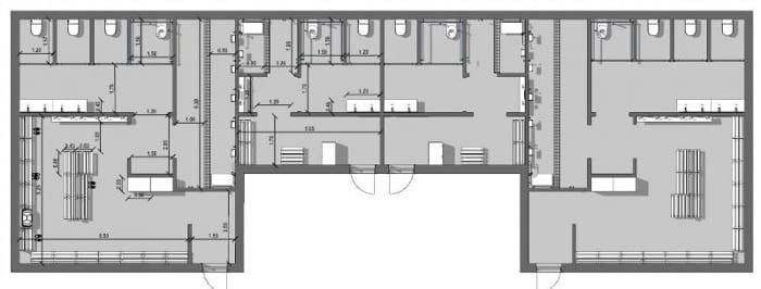 Wie man Sportanlagen entwirft-Umkleideraum-GRUNDRISS-BIM-Software-Architektur-Edificius