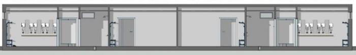 Wie man Sportanlagen plant-Umkleideraum-Schnitt-A-A-BIM-Software-Architektur-Edificius