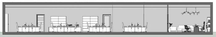 Wie man ein Buero plant-Schnitt-A-A-Architektur-BIM-Software-Edificius