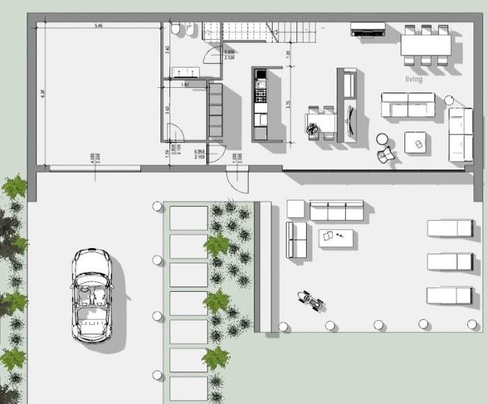 Grundriss Erdgeschoss - Projekt Einfamilienhaus - mit Edificius erstelltes DWF, BIM-Software für die Architekturplanung