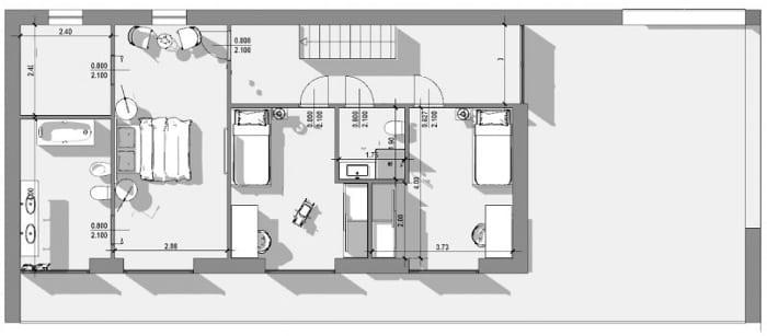 Grundriss erste Etage - Einfamilienhaus-Projekt – DWG-Zeichnung mit Edificius erstellt der BIM-Software für den Architekturentwurf