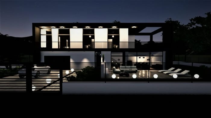 Rendering eins Einfamilienhauses mit Edificius erstellt der BIM-Architektursoftware