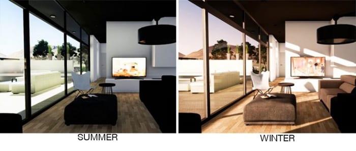 Unterschiede Sonneneinfall Sommer Winter - mit Edificius erstellt