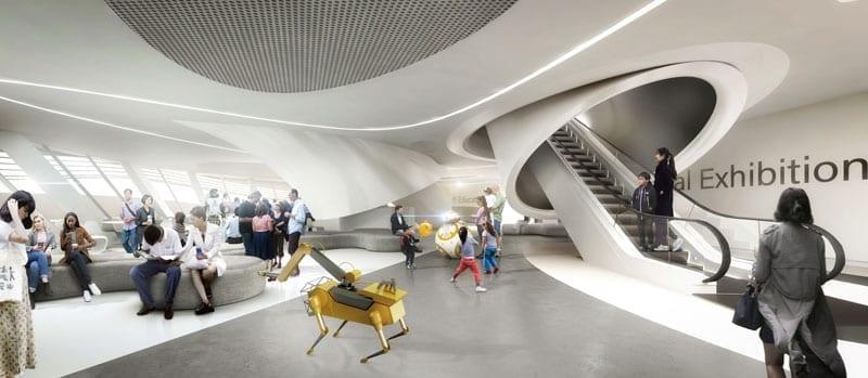Neues-Science-Museum- Seoul-von-Robotern-erstellt-Rendering-Innenbereich