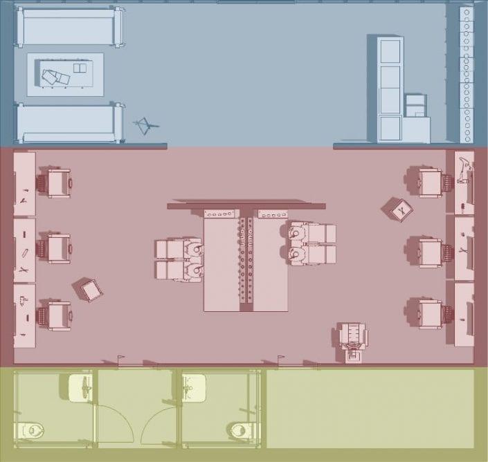 Planung-eines-Friseursalons-Architektur-BIM-Software-Edificius-Zonenunterteilung