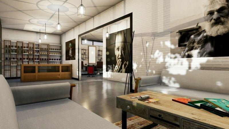 Planung-eines-Friseursalons-Rendering-Eingang-Relaxbereich-Architektur-BIM-Software-Edificius
