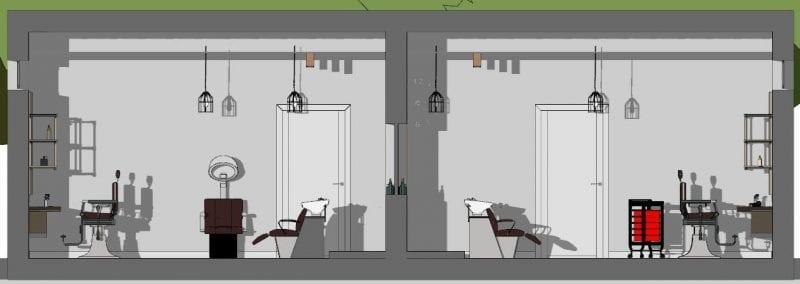 Planung-eines-Friseursalons-Schnitt-A-A-Architektur-BIM-Software-Edificius