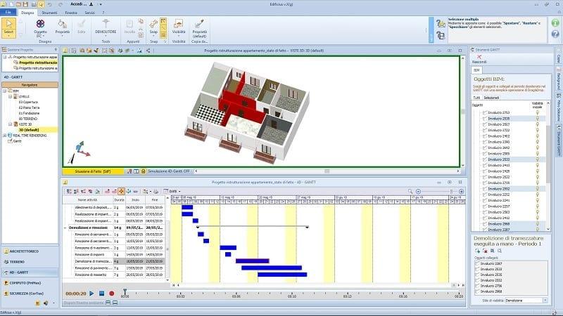 Wie-man-in-5-Schritten-einen-Bauzeitenplan-für-Renovierungen-erstellt-Auswahl-Trennwände-Abriss-4d-BIM-software-Edificius