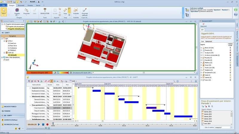 Wie-man-in-5-Schritten-einen-Bauzeitenplan-für-Renovierungen-erstellt-Fußbßden-Auswahl-4d-BIM-software-Edificius