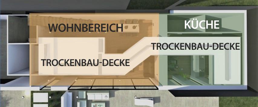Detail-Schema einer Trockenbaudecke, Ansicht von oben