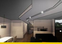 Stilisiertes Rendering des Wohnbereichs mit dem Trockenbau-Decken-Projekt