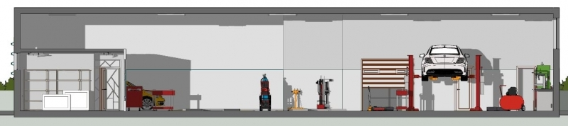 Querschnitt einer Werkstatt mit der BIM-Software Edificius erstellt
