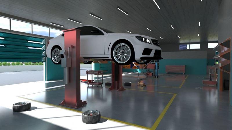 Bild einer Werkstatt mit Auto auf einer Hebebühne