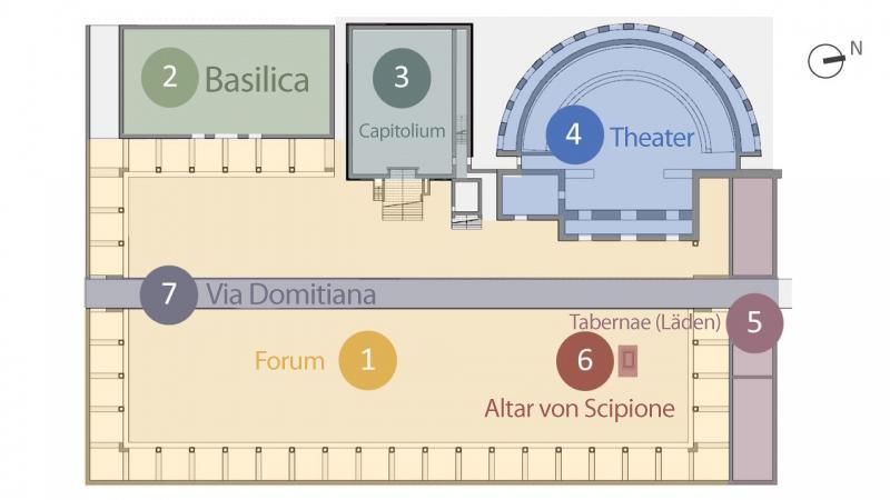 Lageplan des archäologischen Parks von Liternum