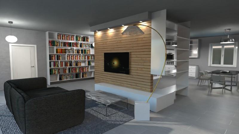 Mit Edificius erstelltes Rendering einer Wohnzimmergestaltung in direkter Verbindung mit der Küche
