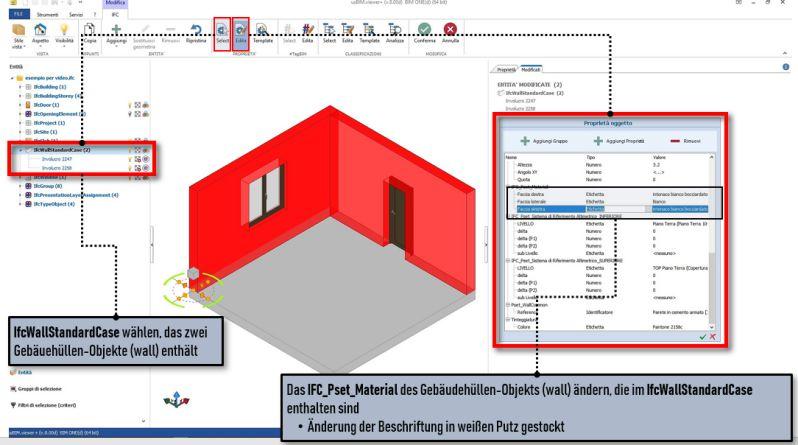 Schnittstelle der Software usBIM.viewer+ mit Darstellung der Änderung der Eigenschaft eines Wand-Objekts