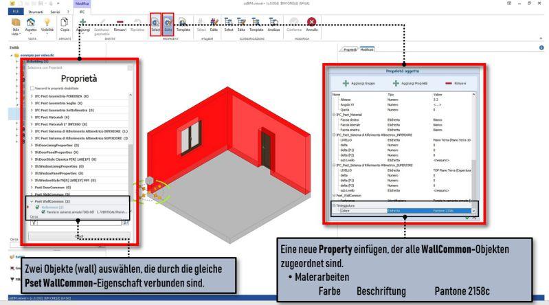 Schnittstelle der Software usBIM.viewer+ in der ein Wand-Objekt eingefügt wird