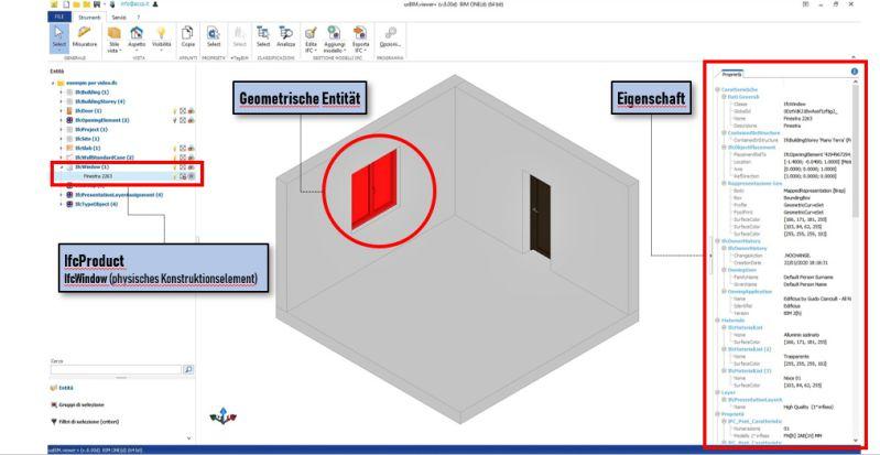 Bild der Identifikation eines IfcObjekts und seiner Eigenschaften