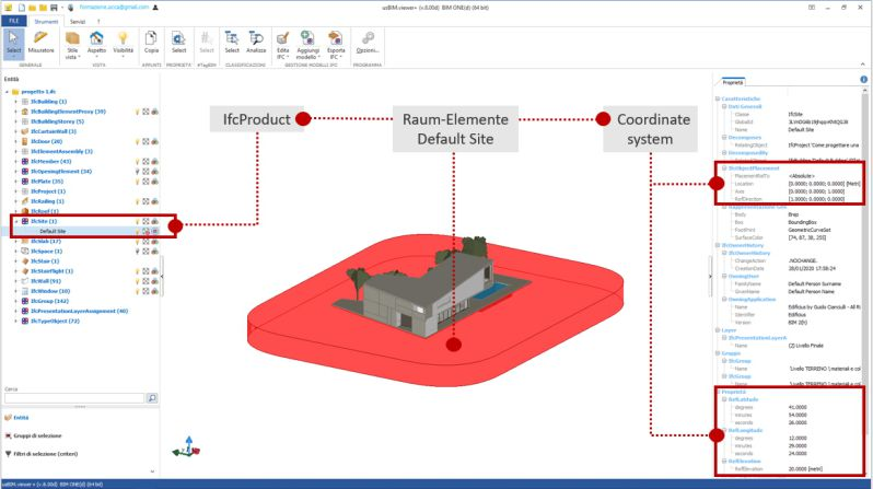 Bild mit Schnittstelle der Software usBIM.viewer+ mit Identifizierung des Koordinatensystems