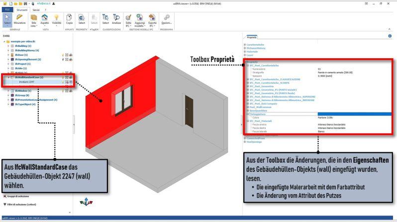 Schnittstelle der Software usBIM.viewer+, der eingegebenen Eigenschaften und dem Wand-Objekt zugewiesen
