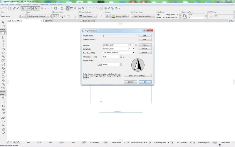 Screenshot Archicad mit Dialog Project location, in dem die Koordinaten eingegeben werden