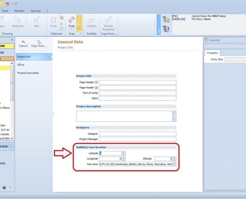 Screenshot der Software Edificius mit Einstellung der geographischen Koordinaten - IFC-Koordinaten-Referenzsystem