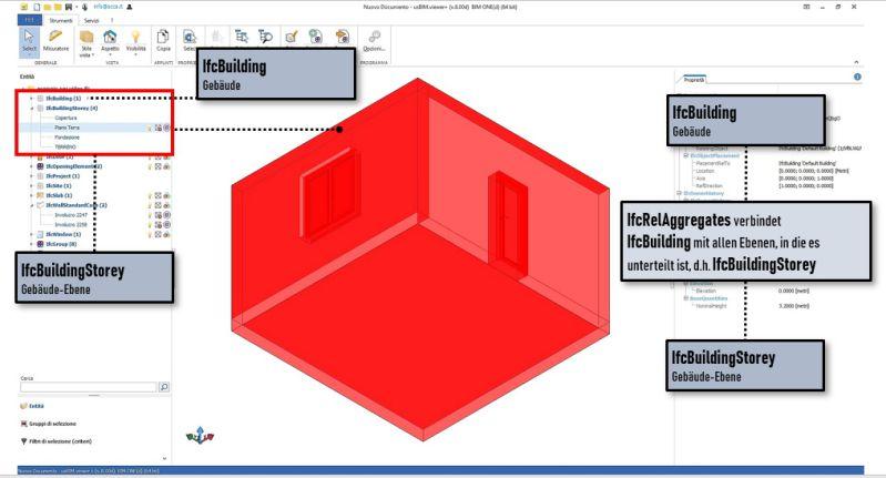 Bild mit Darstellung der Verbindungen des IfcBuilding mit allen Ebenen des IfcBuildingStorey