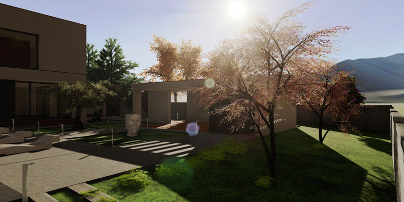 Rendering mit Darstellung eines Aussenbereichs mit Haus und Garten