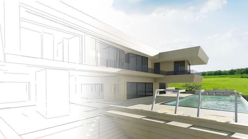Skizze eines Aussenbereichs mit Darstellung eines Hauses mit Pool