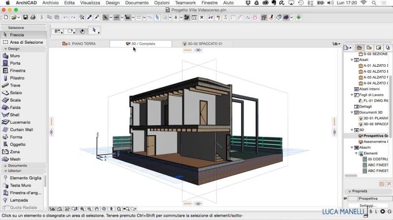 Bild das die Schnittstelle in Archicad anzeigt, der BIM-Software für Architektur