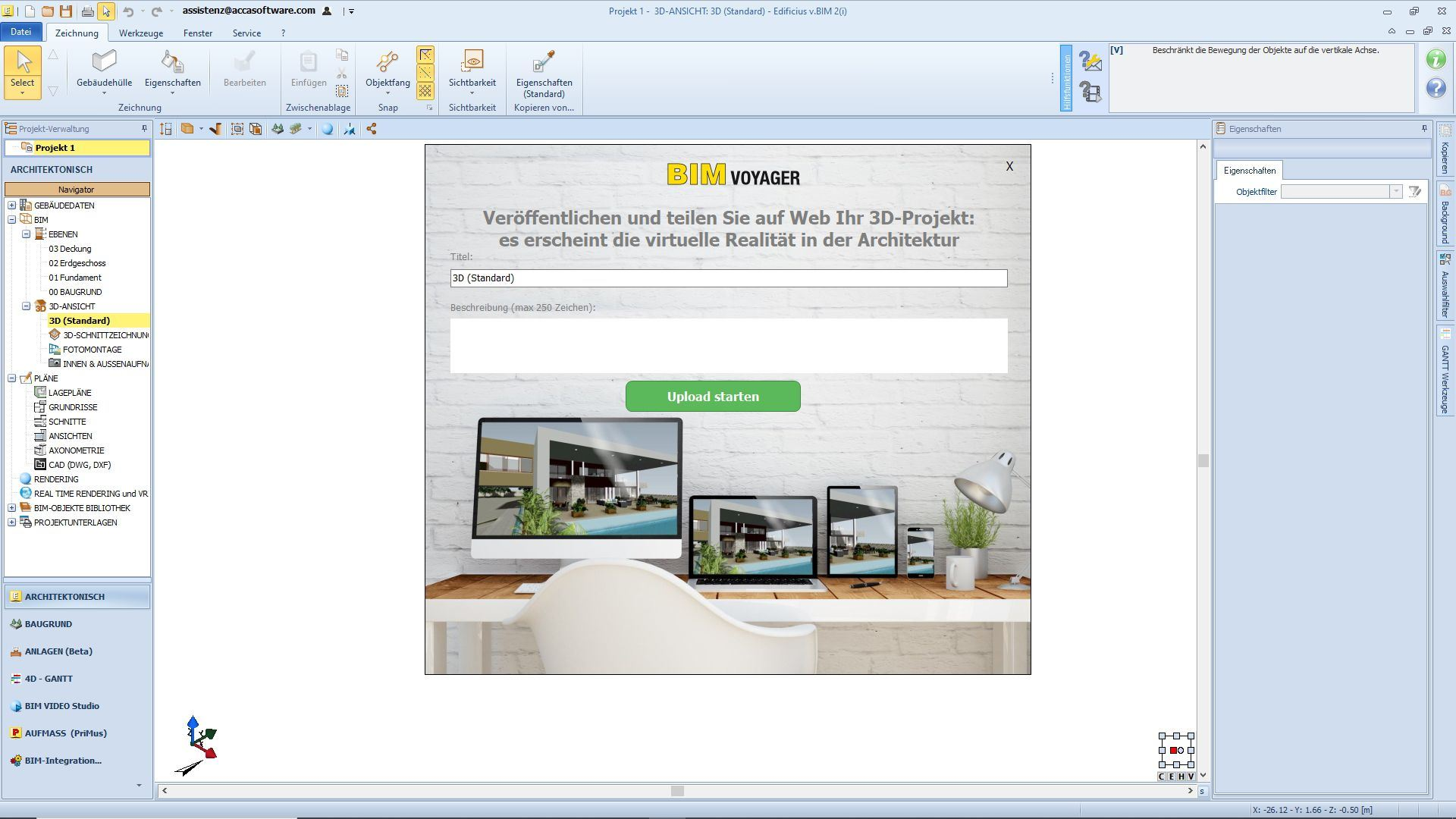 Bild das BIM VOYAGER anzeigt | Die Plattform, um Ihre BIM-Modelle online zu visualisieren und zu teilen