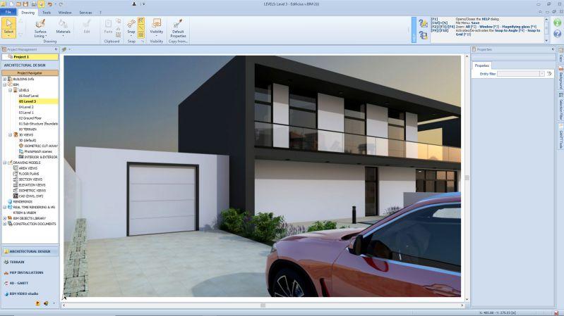 Rendering einer oberirdischen Garage seitlich eines Einfamilienhauses