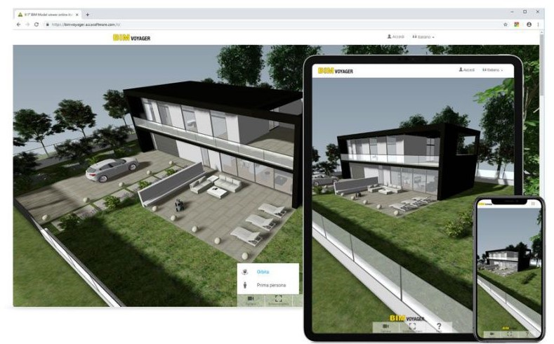 Bild mit BIM VOYAGER das die Navigation des Modells von Desktops, Tablets und Smartphones anzeigt