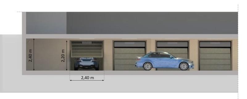Querschnitt einer unterirdischen Garage in Boxmodulen unterteilt