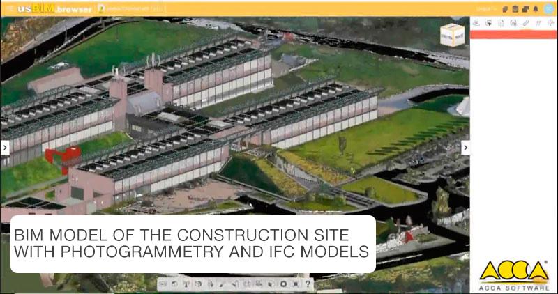 Bild mit BIM-Modell einer Baustelle mit Fotogrammetrie und IFC-Modell