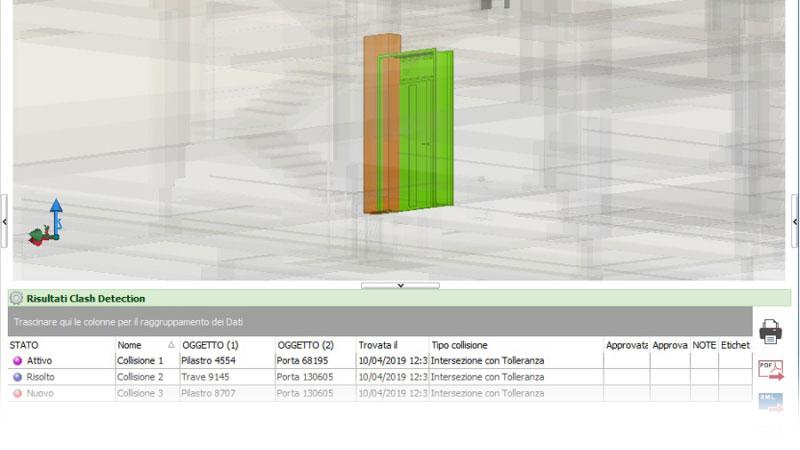 Bild mit Scnittstelle der Soiftware in der eine clash im Projekt erkannt wird