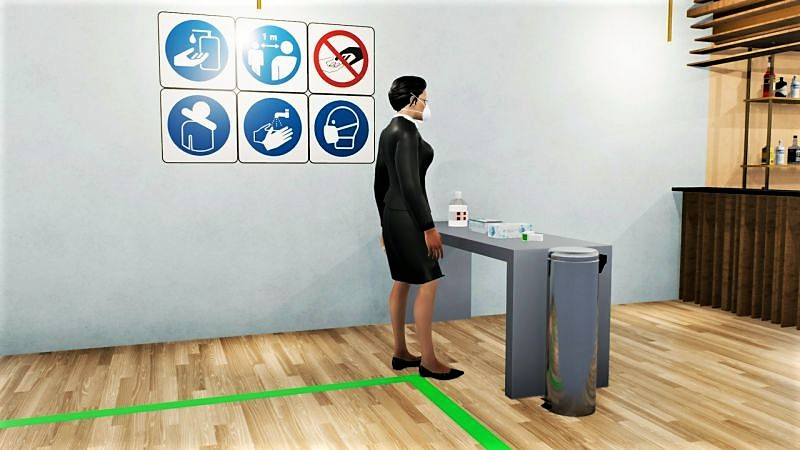 Bild das den Beriech für die Körpertemperaturmessung anzeigt - mit Edificius erstelltes Rendering