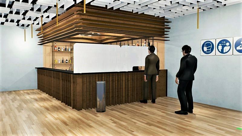 Farbbild, das ein mit Edificius entwickeltes Rendering zeigt, das sich auf das Detail des Barb- und Kassenbereichs eines Restaurants bezieht