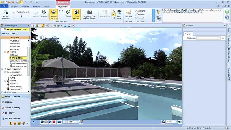 Bild der Schnittstelle vom Software Edificius mit einem Poolprojekt