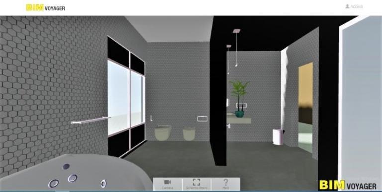 Bild das die Navigation im virtuellen Ausstellungsraum mit BIM VOYAGER anzeigt