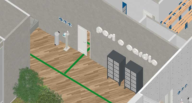 Bild des Details des Eingangs zum Umkleideraum darstellt