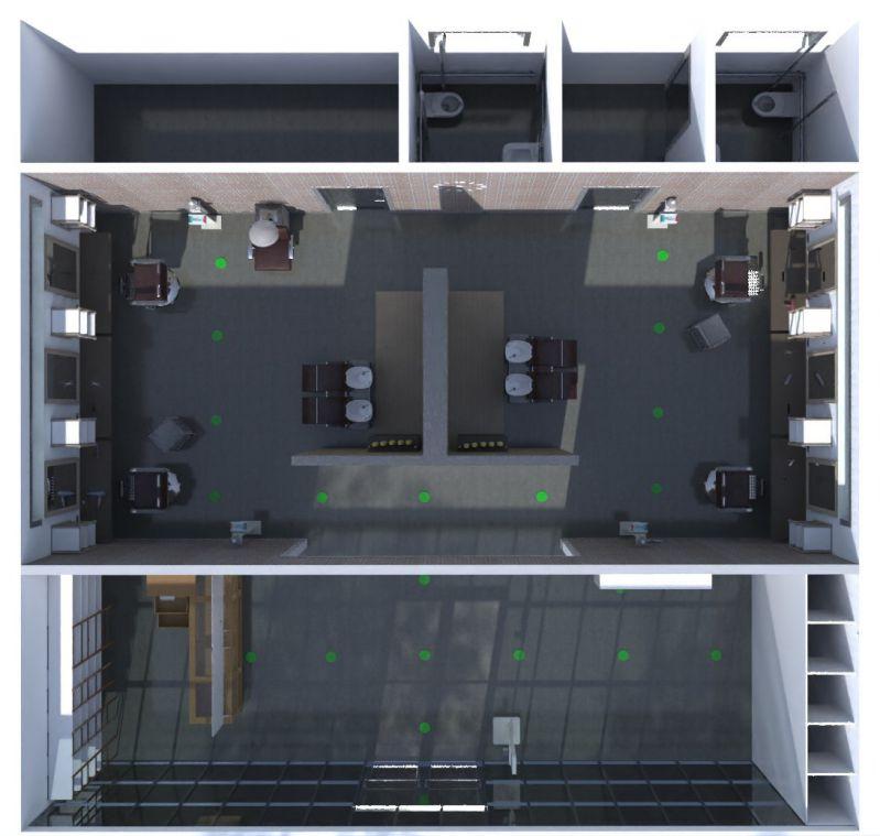 Bild das ein mit Edificius erstelltes Rendering eines Friseursalons anzeigt