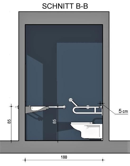 Ein mit Edificius erstellter Schnitt eines barrierefreien Bads mit Blick mit Sicht auf Stützklappgriff WC Waschbecken und Haltestange