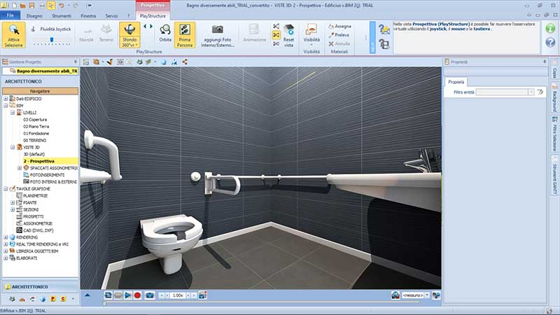 Die Software Schnittstelle von Edificius welche ein Rendering des barrierefreien Bads zeigt